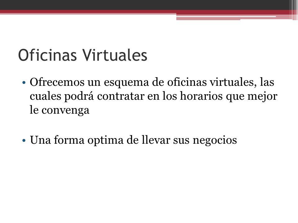 Oficinas Virtuales Ofrecemos un esquema de oficinas virtuales, las cuales podrá contratar en los horarios que mejor le convenga Una forma optima de ll