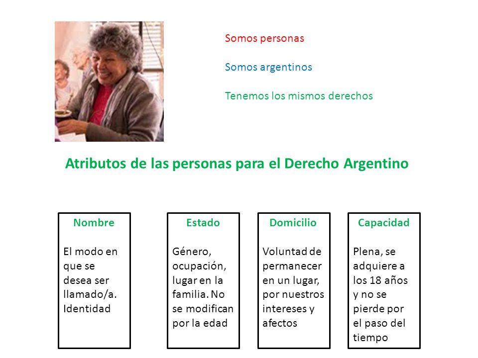 Atributos de las personas para el Derecho Argentino Somos personas Somos argentinos Tenemos los mismos derechos Nombre El modo en que se desea ser lla