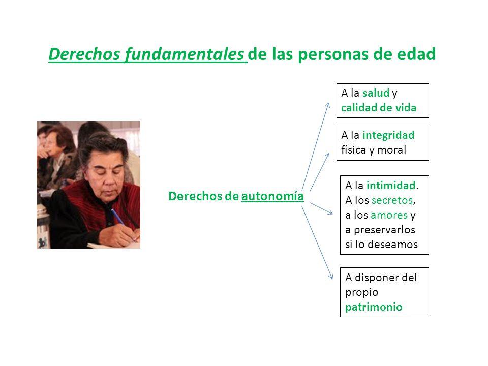 Derechos fundamentales de las personas de edad Derechos de autonomía A la salud y calidad de vida A la integridad física y moral A la intimidad. A los