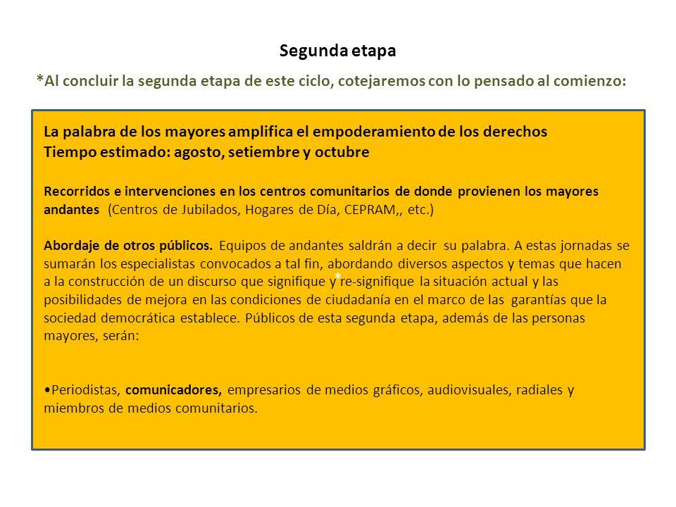 Segunda etapa * La palabra de los mayores amplifica el empoderamiento de los derechos Tiempo estimado: agosto, setiembre y octubre Recorridos e interv
