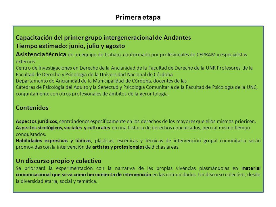 Primera etapa Capacitación del primer grupo intergeneracional de Andantes Tiempo estimado: junio, julio y agosto Asistencia técnica de un equipo de tr