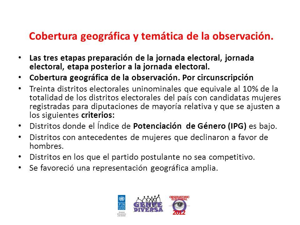 Cobertura geográfica y temática de la observación.
