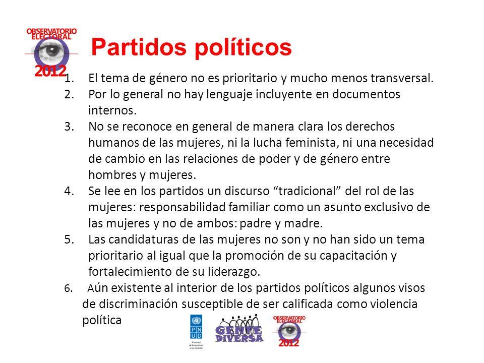 Partidos políticos 1.El tema de género no es prioritario y mucho menos transversal.