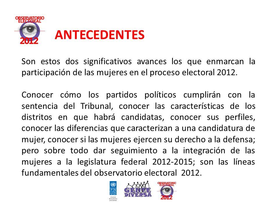 ANTECEDENTES Son estos dos significativos avances los que enmarcan la participación de las mujeres en el proceso electoral 2012.