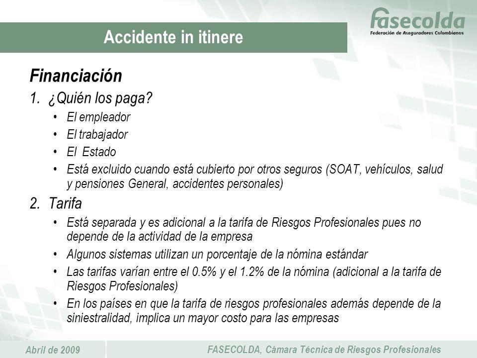 Abril de 2009 FASECOLDA, Cámara Técnica de Riesgos Profesionales Financiación 1.¿Quién los paga? El empleador El trabajador El Estado Está excluido cu