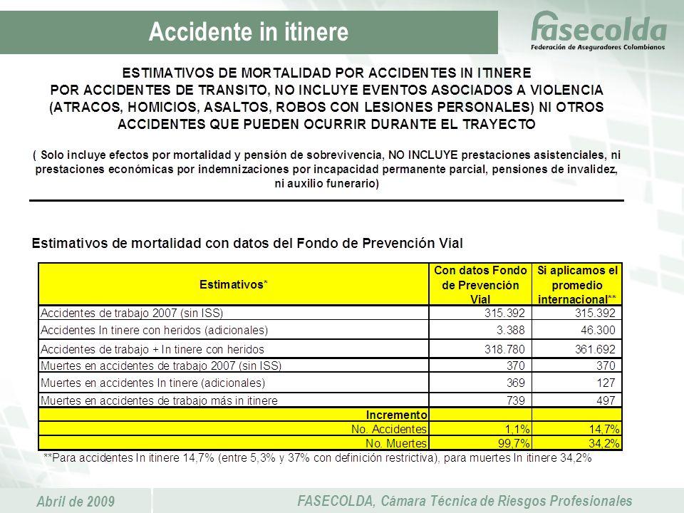 Abril de 2009 FASECOLDA, Cámara Técnica de Riesgos Profesionales Accidente in itinere