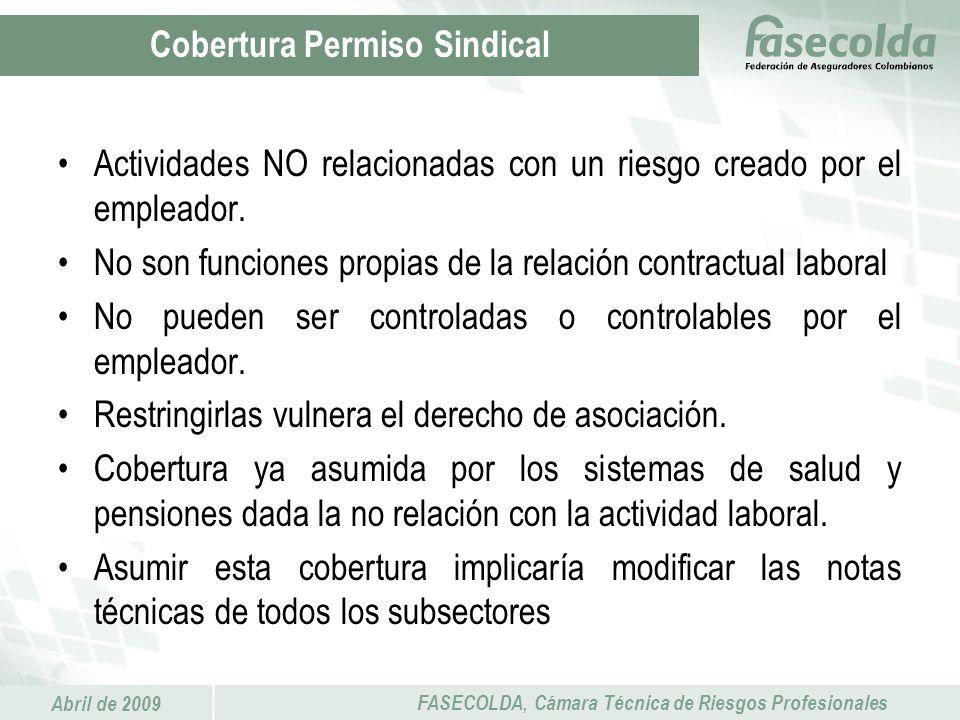 Abril de 2009 FASECOLDA, Cámara Técnica de Riesgos Profesionales Actividades NO relacionadas con un riesgo creado por el empleador. No son funciones p