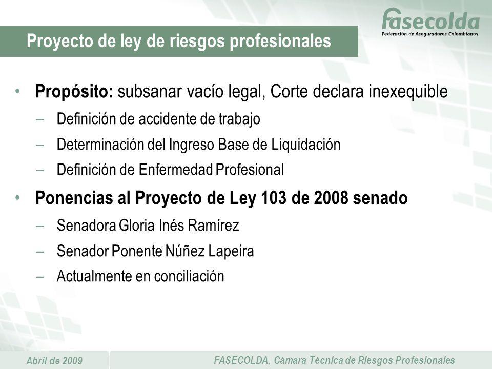 Abril de 2009 FASECOLDA, Cámara Técnica de Riesgos Profesionales Propósito: subsanar vacío legal, Corte declara inexequible –Definición de accidente d