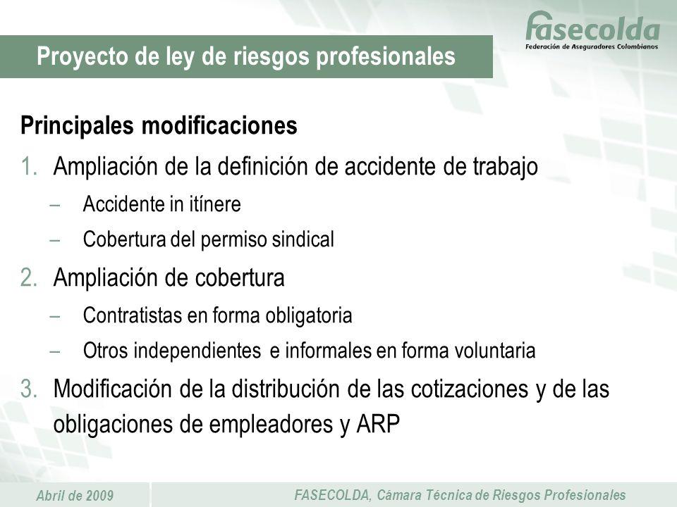 Abril de 2009 FASECOLDA, Cámara Técnica de Riesgos Profesionales Principales modificaciones 1.Ampliación de la definición de accidente de trabajo –Acc