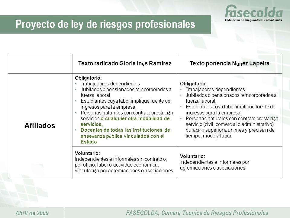 Abril de 2009 FASECOLDA, Cámara Técnica de Riesgos Profesionales Proyecto de ley de riesgos profesionales Texto radicado Gloria In é s RamirezTexto po