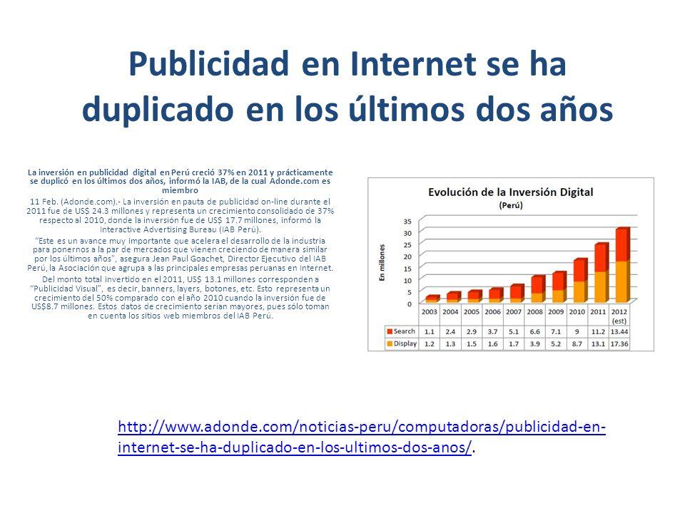 Publicidad en Internet se ha duplicado en los últimos dos años La inversión en publicidad digital en Perú creció 37% en 2011 y prácticamente se duplicó en los últimos dos años, informó la IAB, de la cual Adonde.com es miembro 11 Feb.