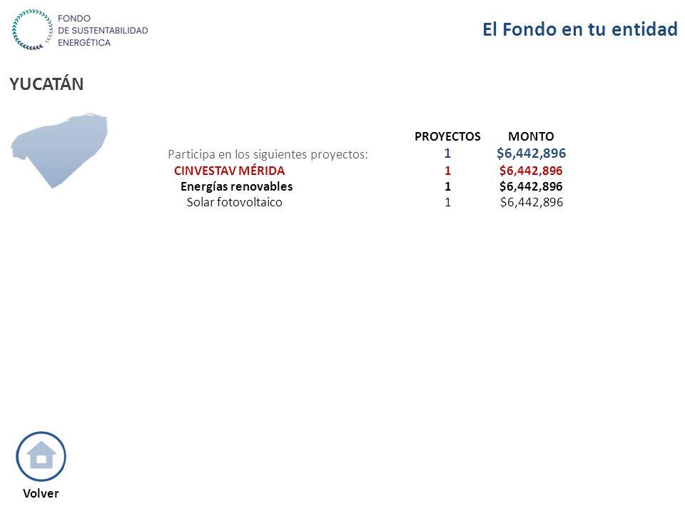 YUCATÁN PROYECTOSMONTO Participa en los siguientes proyectos: 1$6,442,896 CINVESTAV MÉRIDA1$6,442,896 Energías renovables1$6,442,896 Solar fotovoltaic