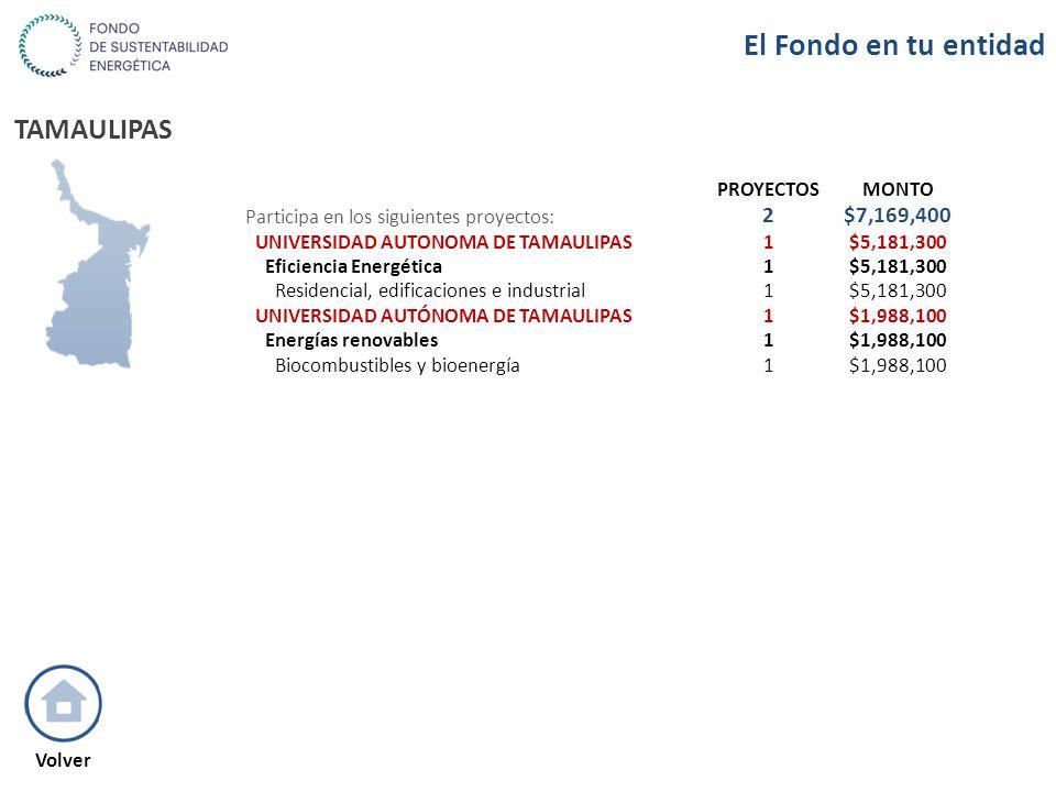 TAMAULIPAS PROYECTOSMONTO Participa en los siguientes proyectos: 2$7,169,400 UNIVERSIDAD AUTONOMA DE TAMAULIPAS1$5,181,300 Eficiencia Energética1$5,18