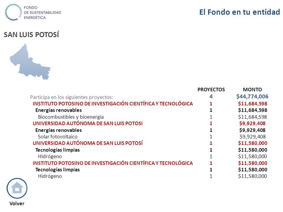 SAN LUIS POTOSÍ PROYECTOSMONTO Participa en los siguientes proyectos: 4$44,774,006 INSTITUTO POTOSINO DE INVESTIGACIÓN CIENTÍFICA Y TECNOLÓGICA1$11,68
