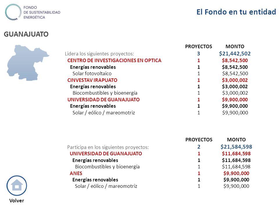 GUANAJUATO PROYECTOSMONTO Participa en los siguientes proyectos: 2$21,584,598 UNIVERSIDAD DE GUANAJUATO1$11,684,598 Energías renovables1$11,684,598 Bi