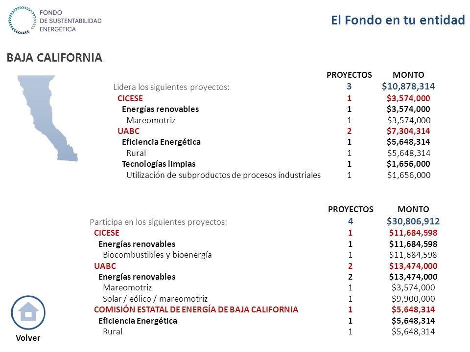 BAJA CALIFORNIA PROYECTOSMONTO Lidera los siguientes proyectos: 3$10,878,314 CICESE1$3,574,000 Energías renovables1$3,574,000 Mareomotriz1$3,574,000 U