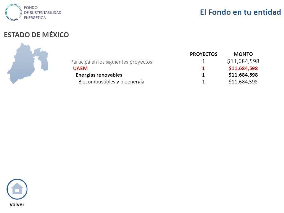ESTADO DE MÉXICO PROYECTOSMONTO Participa en los siguientes proyectos: 1$11,684,598 UAEM1$11,684,598 Energías renovables1$11,684,598 Biocombustibles y