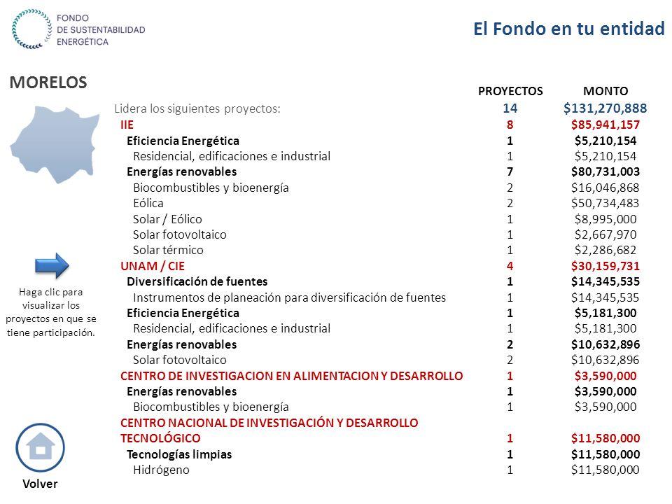 MORELOS PROYECTOSMONTO Lidera los siguientes proyectos: 14$131,270,888 IIE8$85,941,157 Eficiencia Energética1$5,210,154 Residencial, edificaciones e i