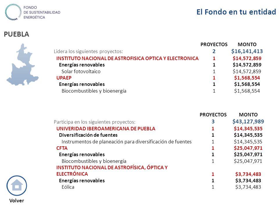 PUEBLA PROYECTOSMONTO Lidera los siguientes proyectos: 2$16,141,413 INSTITUTO NACIONAL DE ASTROFISICA OPTICA Y ELECTRONICA1$14,572,859 Energías renova