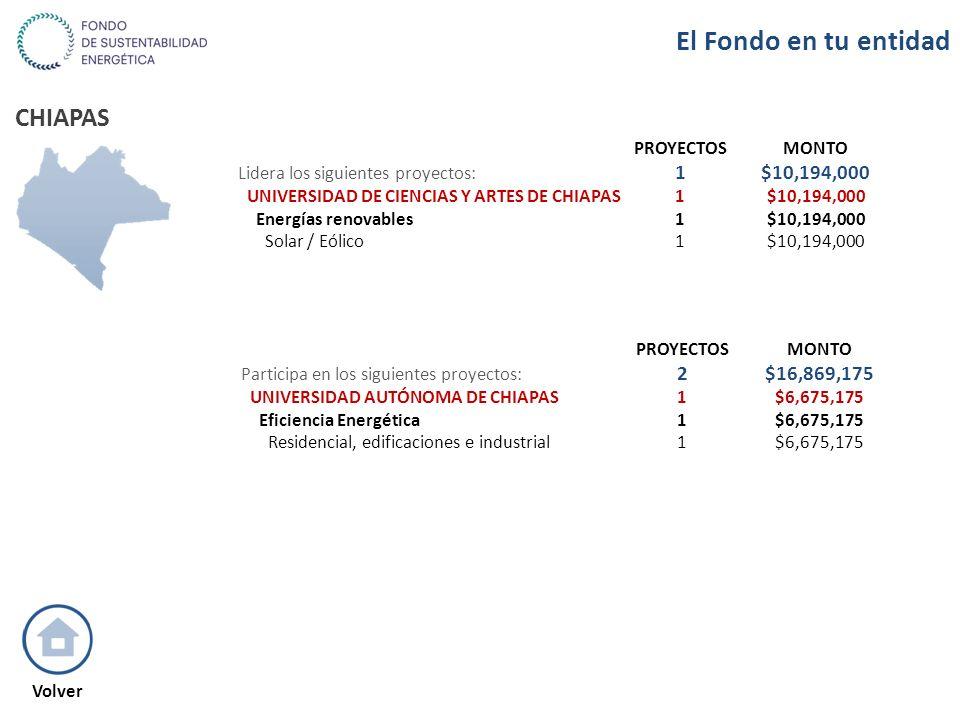 CHIAPAS PROYECTOSMONTO Lidera los siguientes proyectos: 1$10,194,000 UNIVERSIDAD DE CIENCIAS Y ARTES DE CHIAPAS1$10,194,000 Energías renovables1$10,19