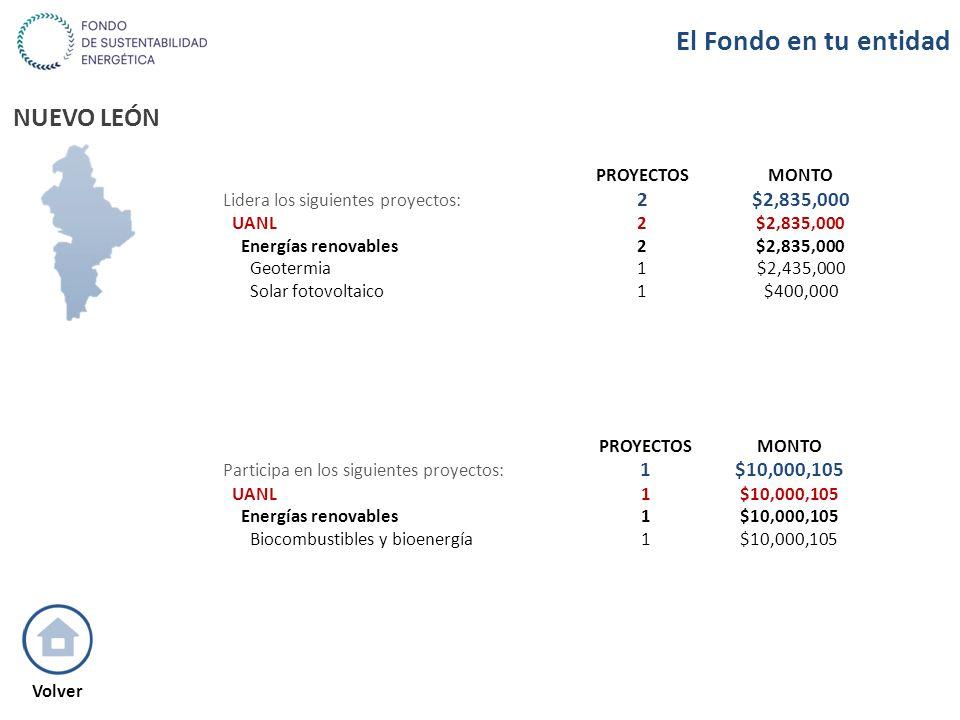NUEVO LEÓN PROYECTOSMONTO Lidera los siguientes proyectos: 2$2,835,000 UANL2$2,835,000 Energías renovables2$2,835,000 Geotermia1$2,435,000 Solar fotov