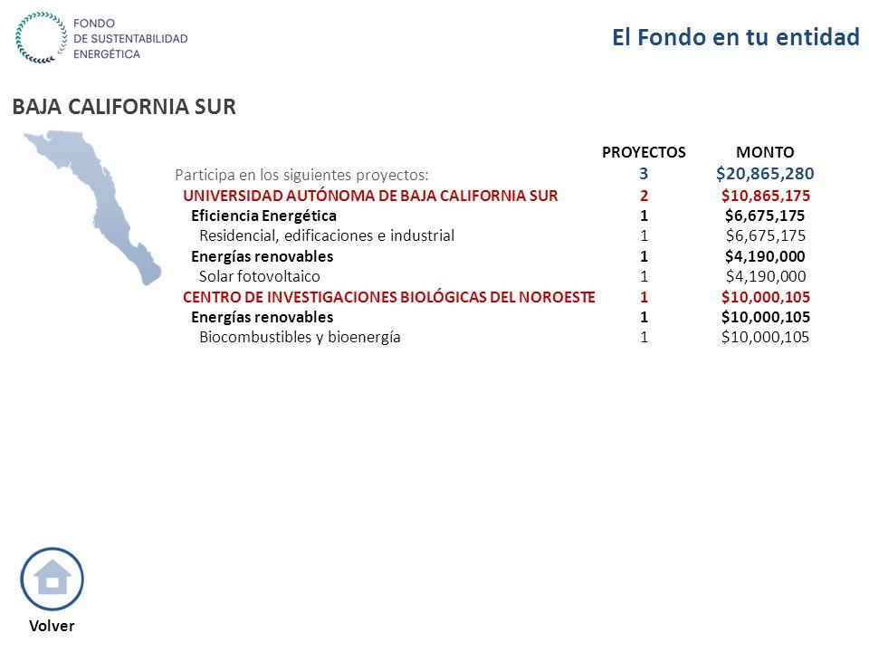 BAJA CALIFORNIA SUR PROYECTOSMONTO Participa en los siguientes proyectos: 3$20,865,280 UNIVERSIDAD AUTÓNOMA DE BAJA CALIFORNIA SUR2$10,865,175 Eficien