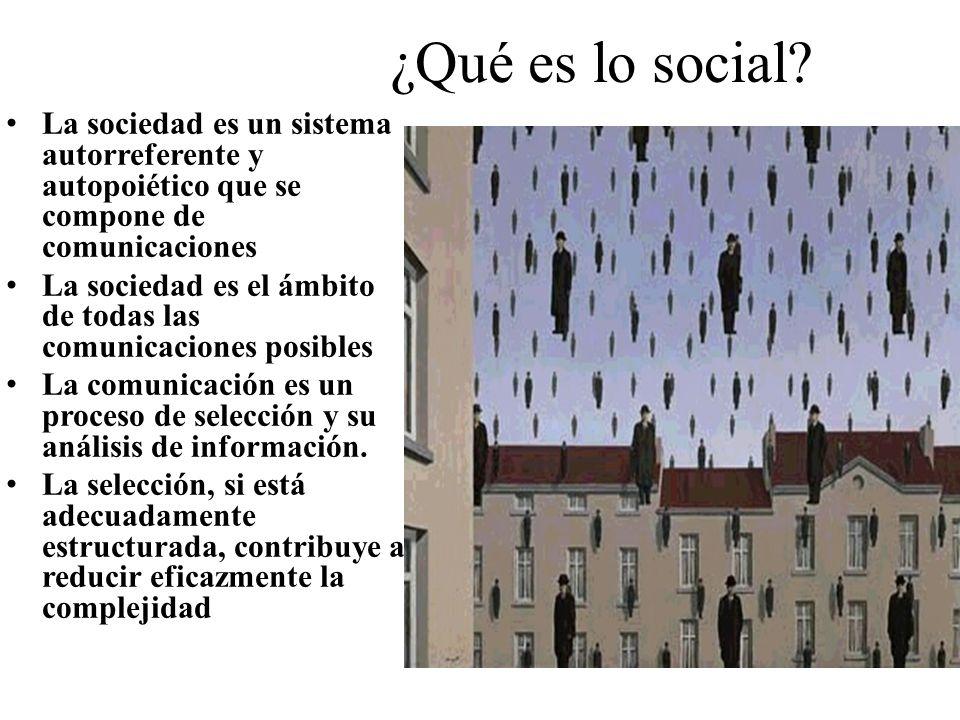 ¿Qué es lo social? La sociedad es un sistema autorreferente y autopoiético que se compone de comunicaciones La sociedad es el ámbito de todas las comu