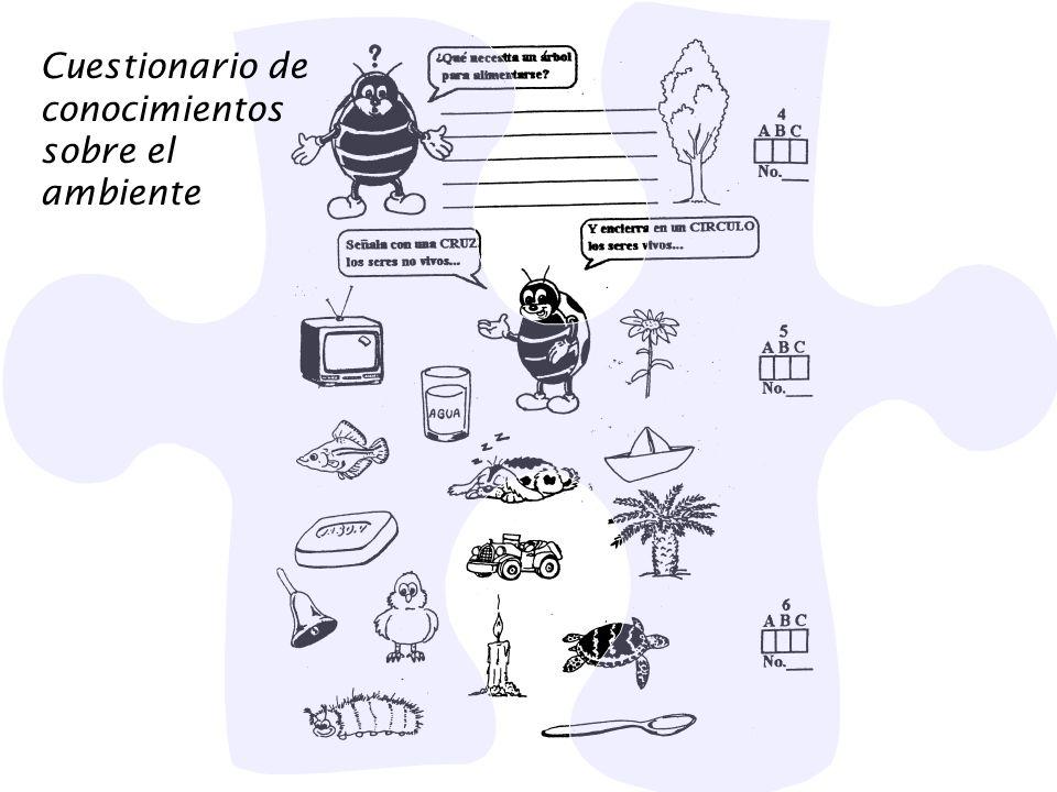 Cuestionario de conocimientos sobre el ambiente