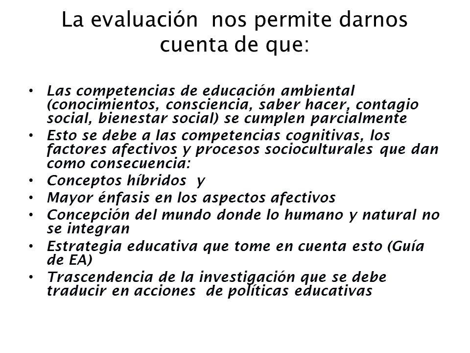 La evaluación nos permite darnos cuenta de que: Las competencias de educación ambiental (conocimientos, consciencia, saber hacer, contagio social, bie