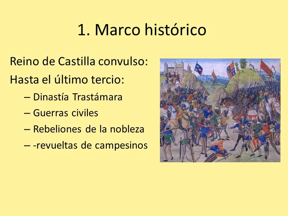 1. Marco histórico Reino de Castilla convulso: Hasta el último tercio: – Dinastía Trastámara – Guerras civiles – Rebeliones de la nobleza – -revueltas