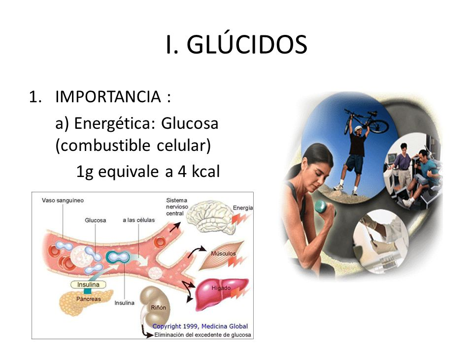 I. GLÚCIDOS 1.IMPORTANCIA : a) Energética: Glucosa (combustible celular) 1g equivale a 4 kcal