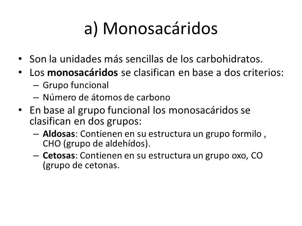 a) Monosacáridos Son la unidades más sencillas de los carbohidratos. Los monosacáridos se clasifican en base a dos criterios: – Grupo funcional – Núme