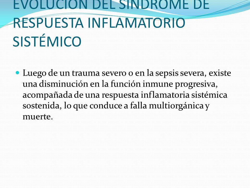 EVOLUCIÓN DEL SÍNDROME DE RESPUESTA INFLAMATORIO SISTÉMICO Luego de un trauma severo o en la sepsis severa, existe una disminución en la función inmun