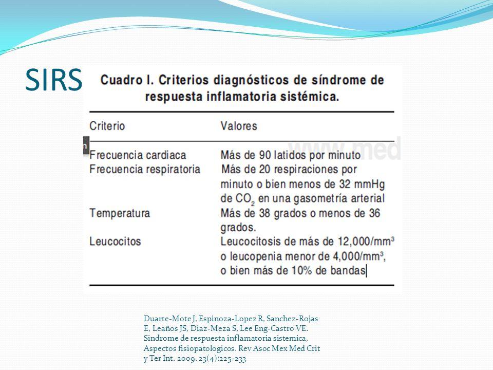 SIRS Duarte-Mote J, Espinoza-Lopez R, Sanchez-Rojas E, Leaños JS, Diaz-Meza S, Lee Eng-Castro VE. Sindrome de respuesta inflamatoria sistemica, Aspect