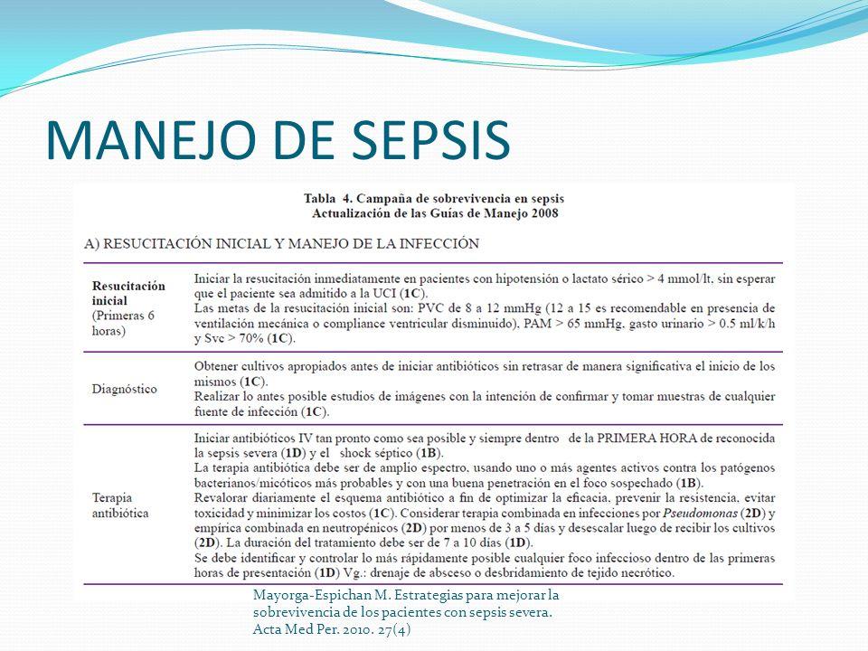 MANEJO DE SEPSIS Mayorga-Espichan M. Estrategias para mejorar la sobrevivencia de los pacientes con sepsis severa. Acta Med Per. 2010. 27(4)