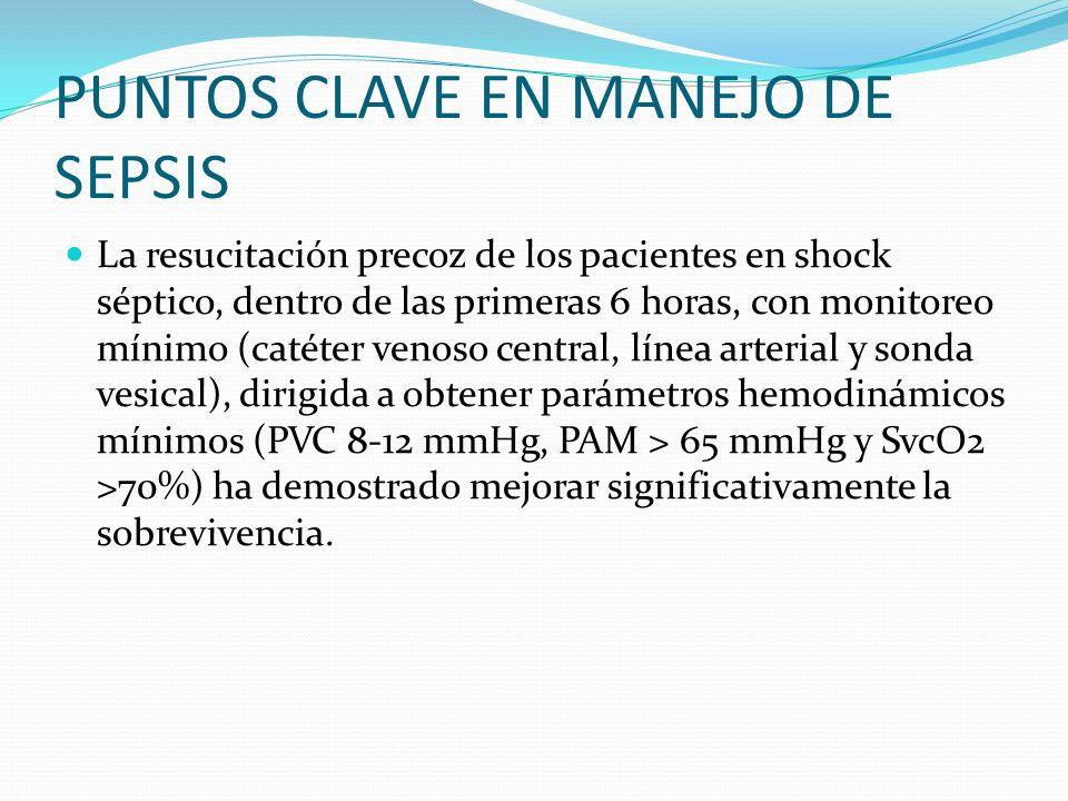 PUNTOS CLAVE EN MANEJO DE SEPSIS La resucitación precoz de los pacientes en shock séptico, dentro de las primeras 6 horas, con monitoreo mínimo (catét