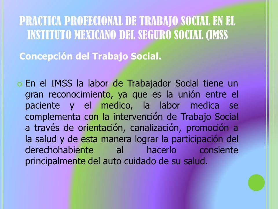 PRACTICA PROFECIONAL DE TRABAJO SOCIAL EN EL INSTITUTO MEXICANO DEL SEGURO SOCIAL (IMSS Concepción del Trabajo Social. En el IMSS la labor de Trabajad