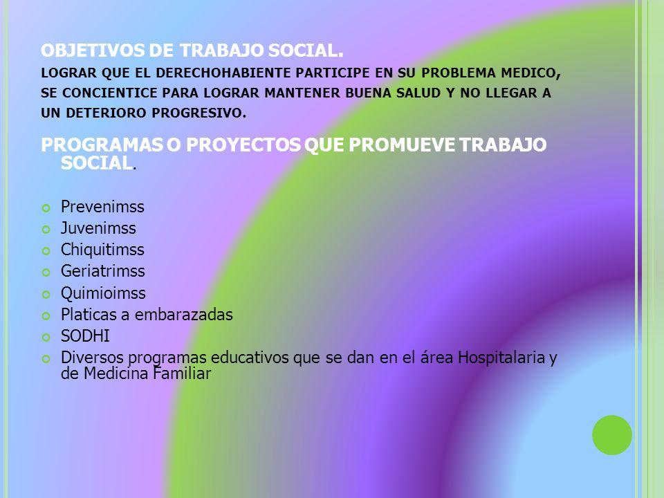 OBJETIVOS DE TRABAJO SOCIAL. LOGRAR QUE EL DERECHOHABIENTE PARTICIPE EN SU PROBLEMA MEDICO, SE CONCIENTICE PARA LOGRAR MANTENER BUENA SALUD Y NO LLEGA