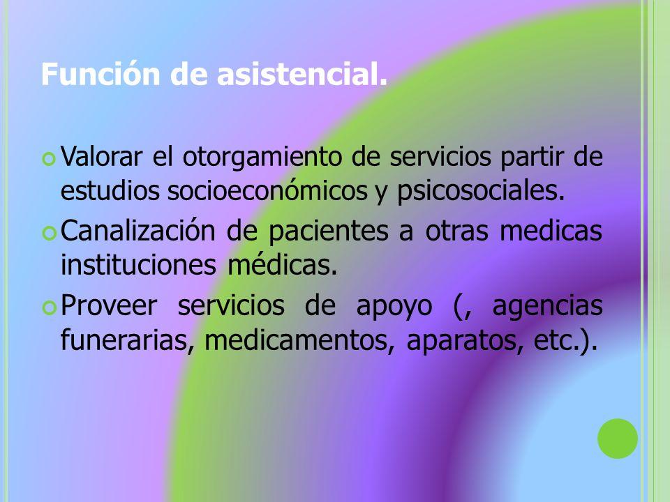 Función de asistencial. Valorar el otorgamiento de servicios partir de estudios socioeconómicos y psicosociales. Canalización de pacientes a otras med