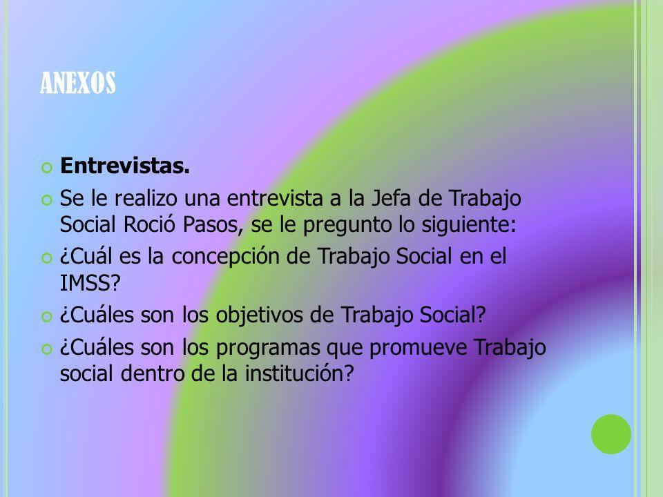 Entrevistas. Se le realizo una entrevista a la Jefa de Trabajo Social Roció Pasos, se le pregunto lo siguiente: ¿Cuál es la concepción de Trabajo Soci