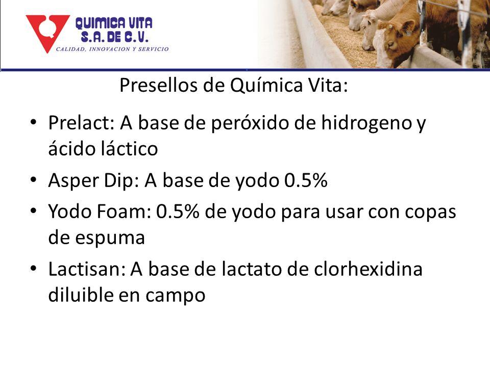 Presellos de Química Vita: Prelact: A base de peróxido de hidrogeno y ácido láctico Asper Dip: A base de yodo 0.5% Yodo Foam: 0.5% de yodo para usar c