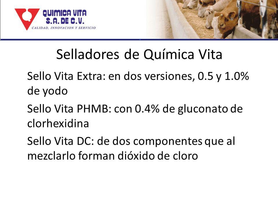 Selladores de Química Vita Sello Vita Extra: en dos versiones, 0.5 y 1.0% de yodo Sello Vita PHMB: con 0.4% de gluconato de clorhexidina Sello Vita DC