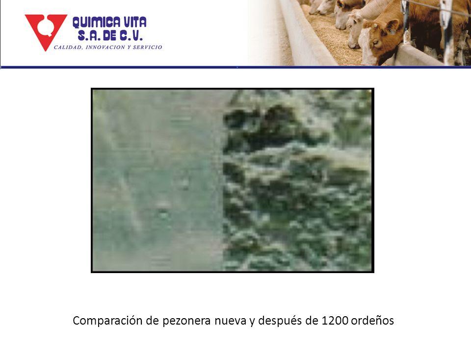 Comparación de pezonera nueva y después de 1200 ordeños