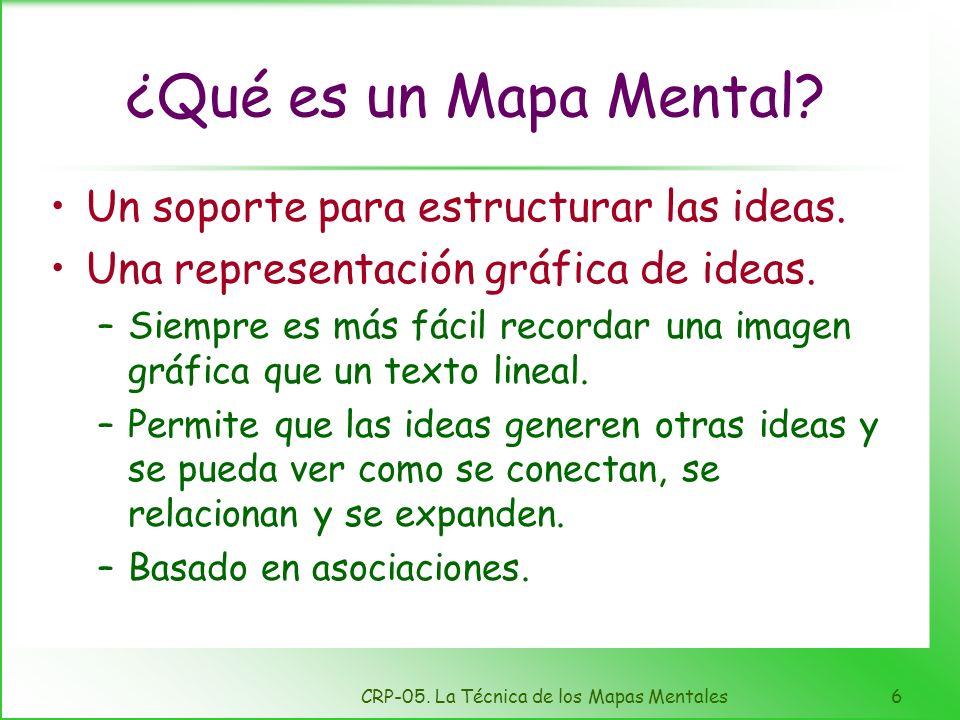 CRP-05. La Técnica de los Mapas Mentales5 Ventajas del aprendizaje visual Depurar el pensamiento Refuerza la comprensión Integra nuevo conocimiento Id