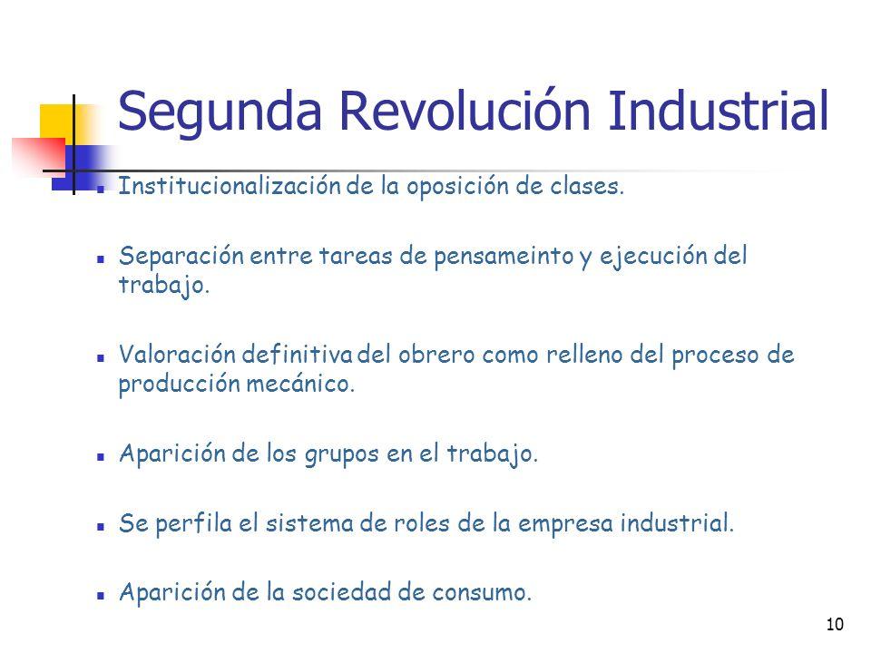 9 Segunda Revolución Industrial La madurez de la industrialización lograda en esta época se manifiesta en nuevas normas sociales: Institucionalización