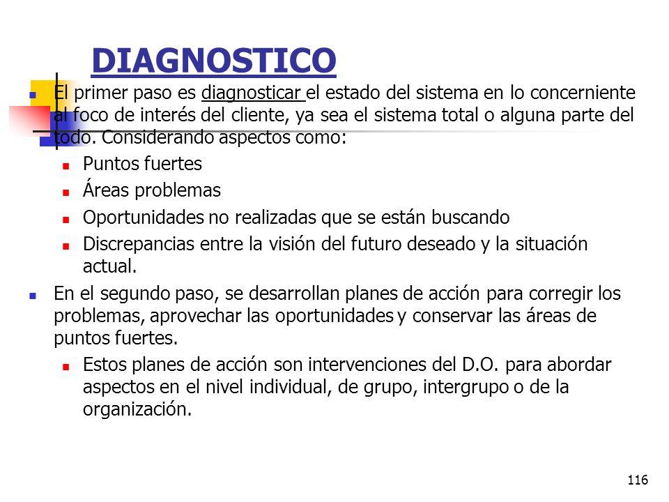 115 ADMINISTRACION DEL PROCESO Hay tres componentes básicos en todos los programas de D.O.: Diagnostico. Recopilación continua de datos acerca del sis