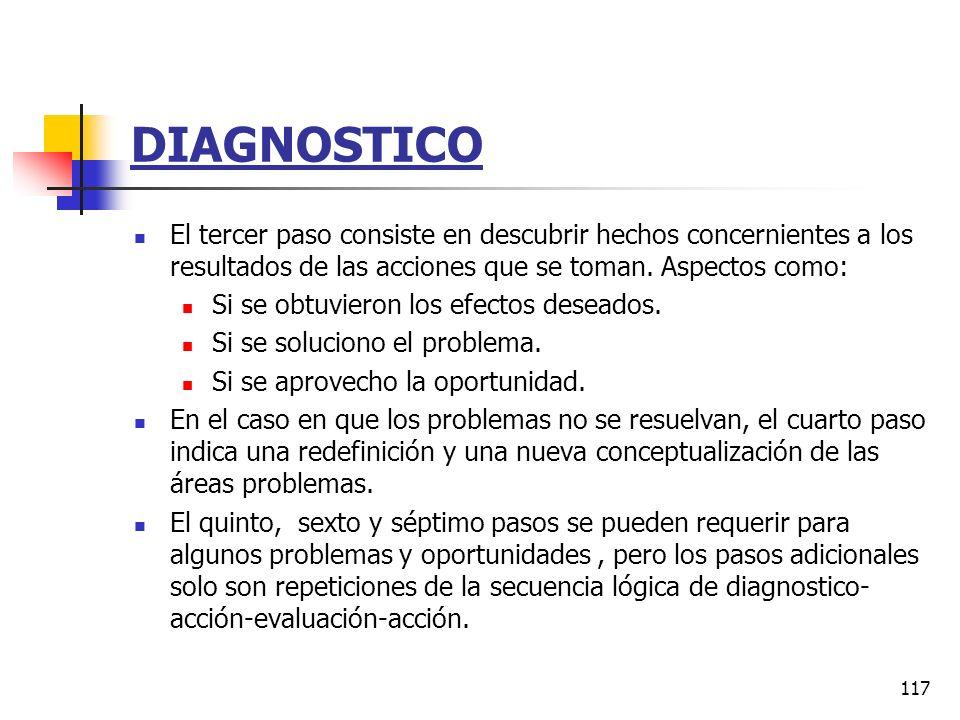116 DIAGNOSTICO El primer paso es diagnosticar el estado del sistema en lo concerniente al foco de interés del cliente, ya sea el sistema total o algu