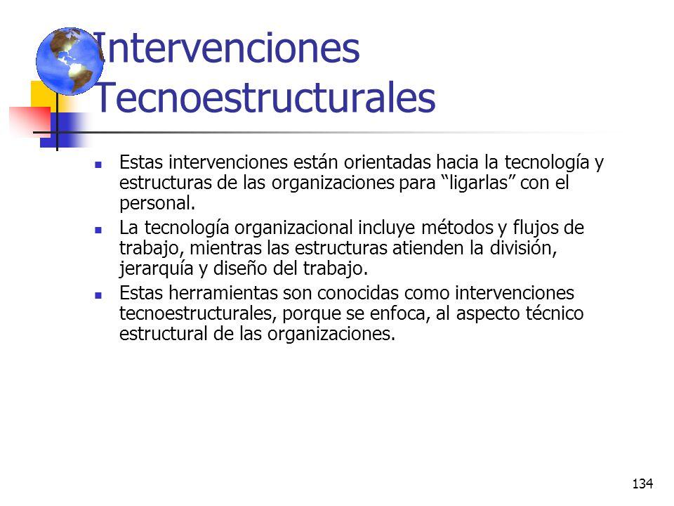 133 Intervenciones en procesos humanos Estas intervenciones están dirigidas fundamentalmente al personal de las organizaciones, así como hacia sus pro