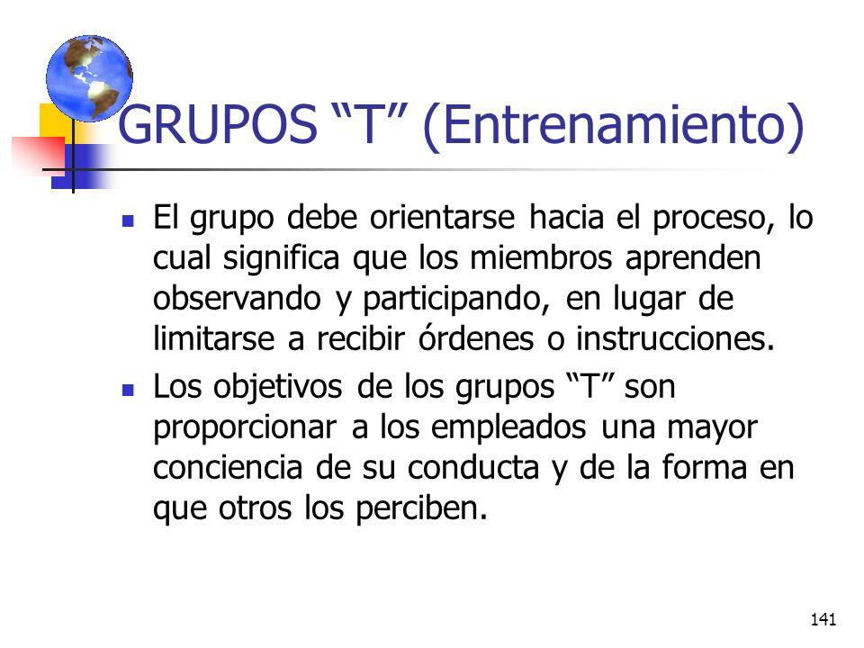 140 GRUPOS T (Entrenamiento) Es una herramienta útil para detectar por qué el comportamiento de un individuo afecta a los demás miembros de la organiz