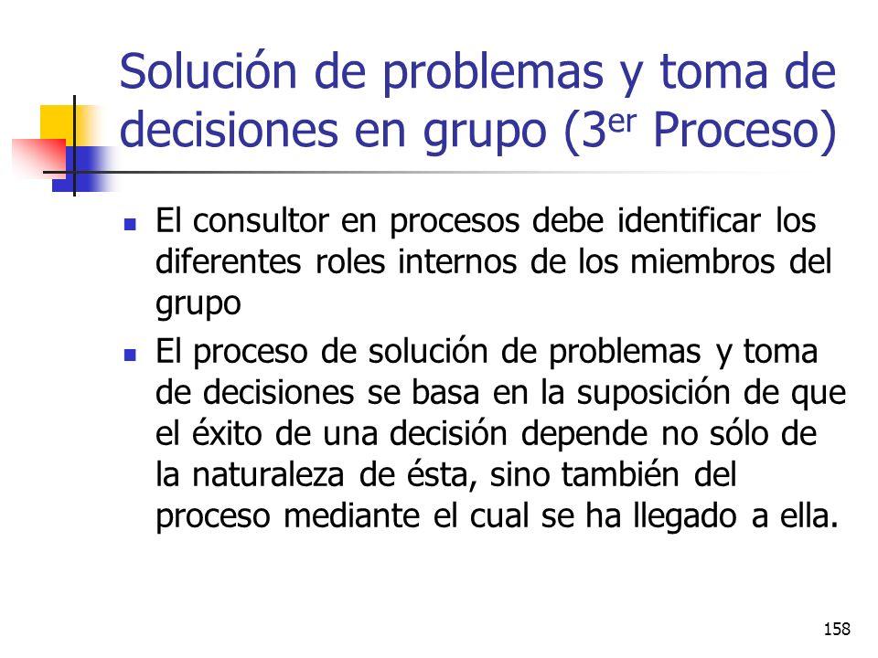157 Fase 2. ( Funciones relativas al desempeño de la tarea del grupo ) Iniciación: Fijar metas o plantear el problema Búsqueda de opiniones Presentaci